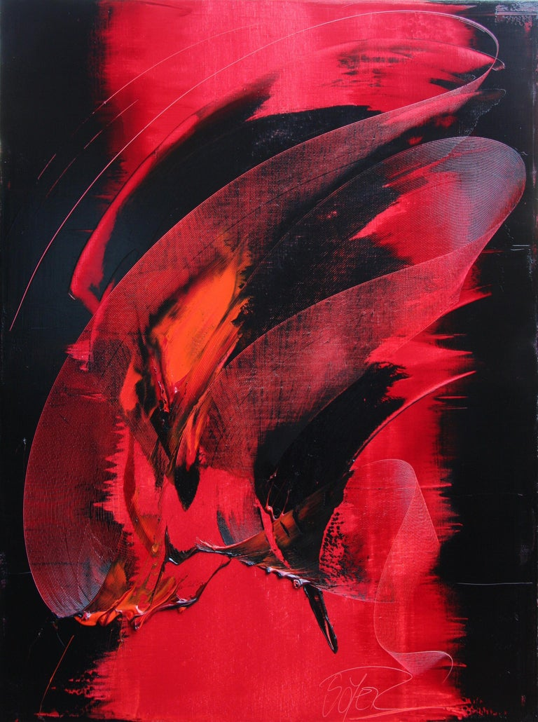Jean Soyer Landscape Painting - Red and Black Tornado Vertical Abstract Oil Painting