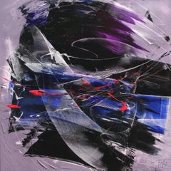Red and Blue on Black and Mauve Squared Abstract Oil Painting