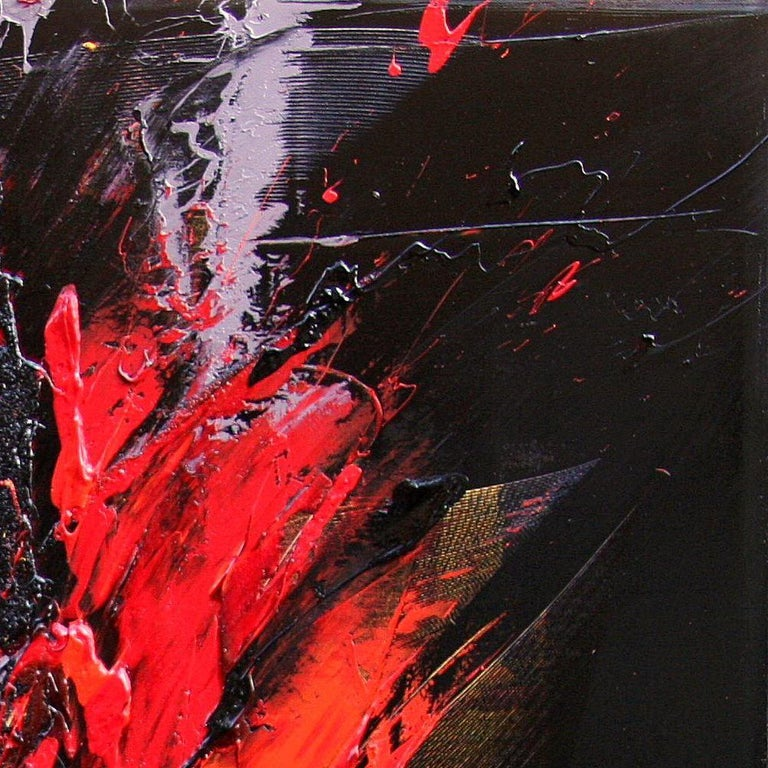 Red and Mauve Fireworks on Dark Background Squared Abstract Oil Painting For Sale 13