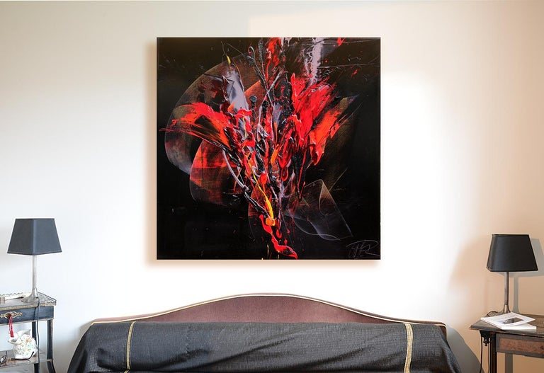 Red and Mauve Fireworks on Dark Background Squared Abstract Oil Painting - Purple Abstract Painting by Jean Soyer