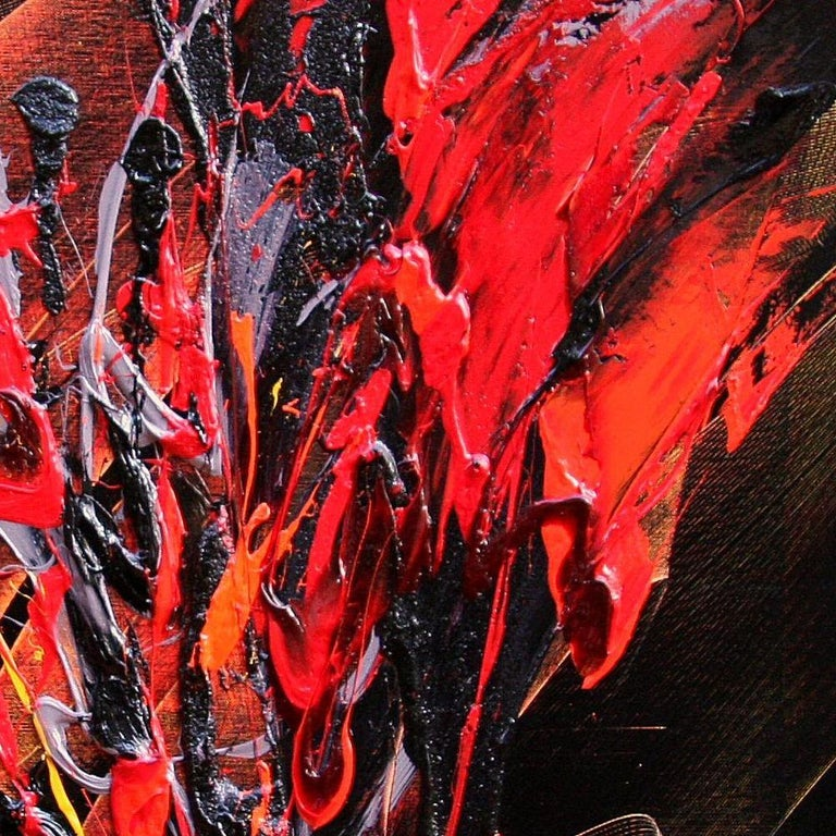 Red and Mauve Fireworks on Dark Background Squared Abstract Oil Painting For Sale 2