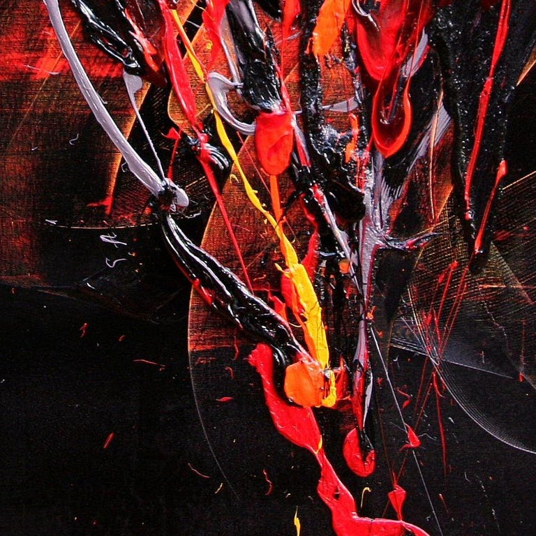 Red and Mauve Fireworks on Dark Background Squared Abstract Oil Painting For Sale 4