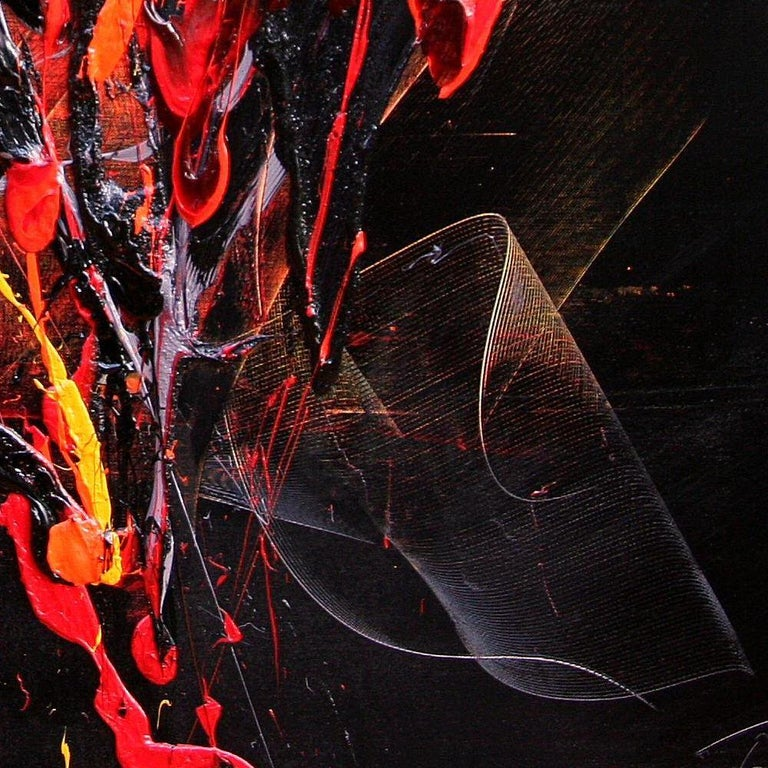 Red and Mauve Fireworks on Dark Background Squared Abstract Oil Painting For Sale 5