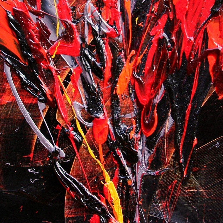 Red and Mauve Fireworks on Dark Background Squared Abstract Oil Painting For Sale 6