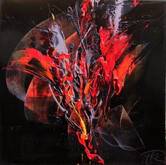 Red and Mauve Fireworks on Dark Background Squared Abstract Oil Painting