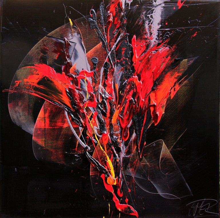 Jean Soyer Abstract Painting - Red and Mauve Fireworks on Dark Background Squared Abstract Oil Painting