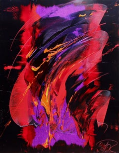 Red, Violet and Orange Dynamic Gesture on Black Abstract Oil Painting, Untitled