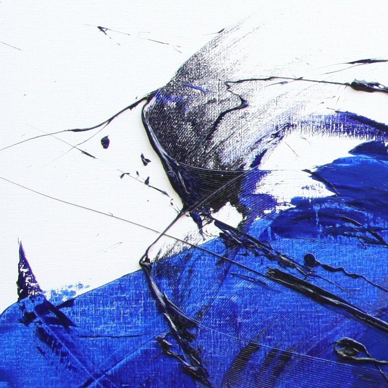 Rising Dark Blue and Purple Abstract Oil Painting on White Background For Sale 9