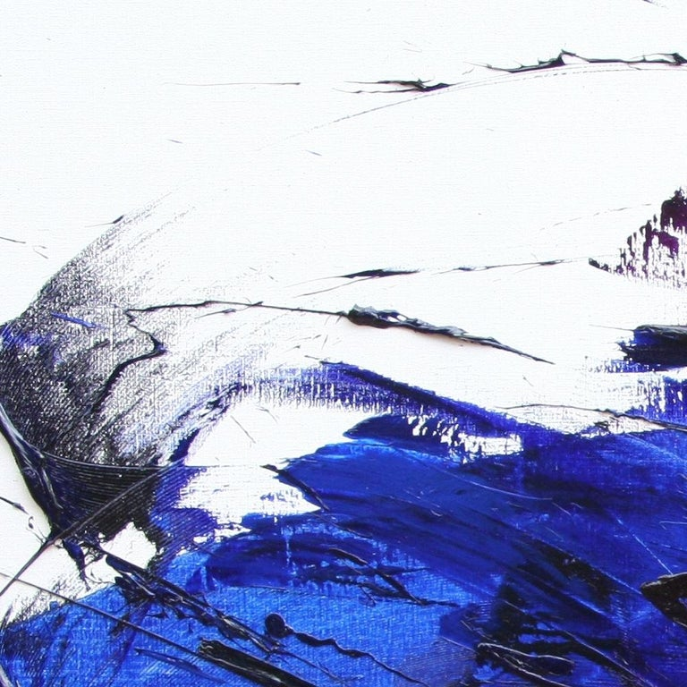 Rising Dark Blue and Purple Abstract Oil Painting on White Background For Sale 11
