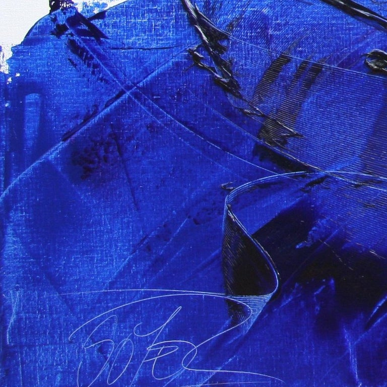 Rising Dark Blue and Purple Abstract Oil Painting on White Background For Sale 13