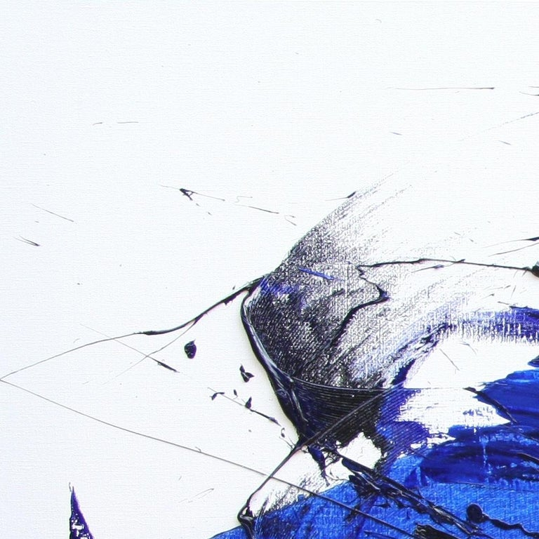 Rising Dark Blue and Purple Abstract Oil Painting on White Background For Sale 15