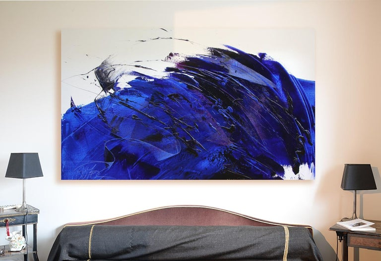 Rising Dark Blue and Purple Abstract Oil Painting on White Background For Sale 1
