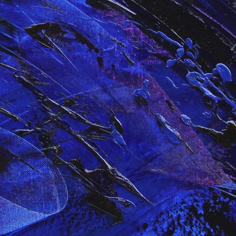 Rising Dark Blue and Purple Abstract Oil Painting on White Background For Sale 2