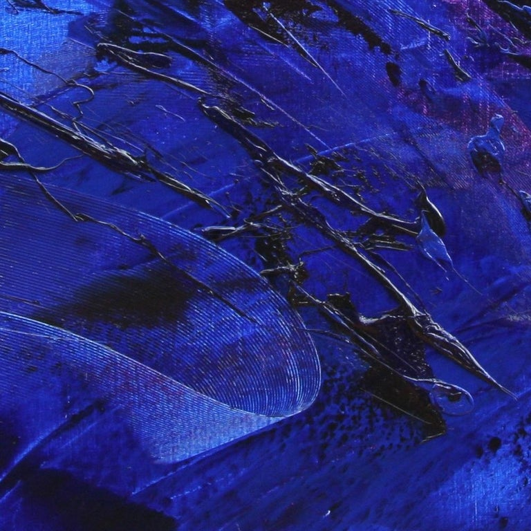 Rising Dark Blue and Purple Abstract Oil Painting on White Background For Sale 3