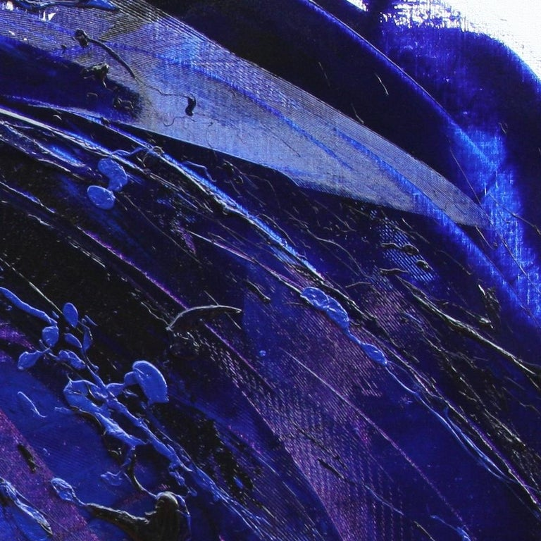 Rising Dark Blue and Purple Abstract Oil Painting on White Background For Sale 5