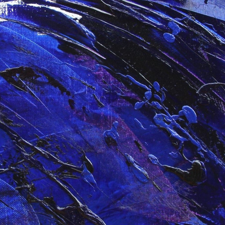 Rising Dark Blue and Purple Abstract Oil Painting on White Background For Sale 6