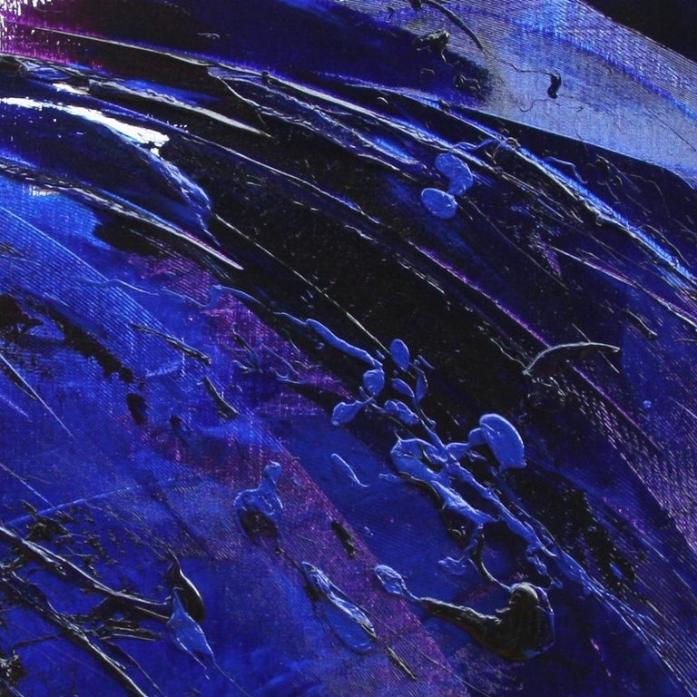 Rising Dark Blue and Purple Abstract Oil Painting on White Background For Sale 8