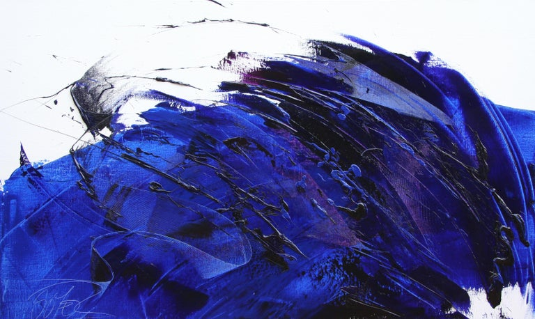 Jean Soyer Rising Dark Blue And Purple Abstract Oil Painting