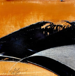 Small Black Wave on Ochre Background Abstract Landscape Oil Painting