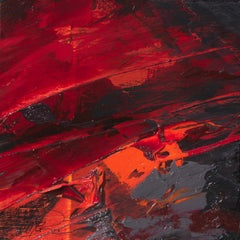 Small Deep Red Orange Black and Grey Squared Abstract Oil Painting