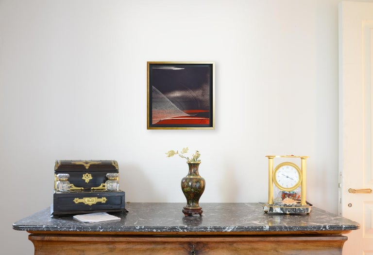 This artwork features some reliefs of matter.  This painting is delivered with a simple black wood floating frame for protection and convenience.  Jean Soyer does not name his works, but gives them a number. This item is listed as