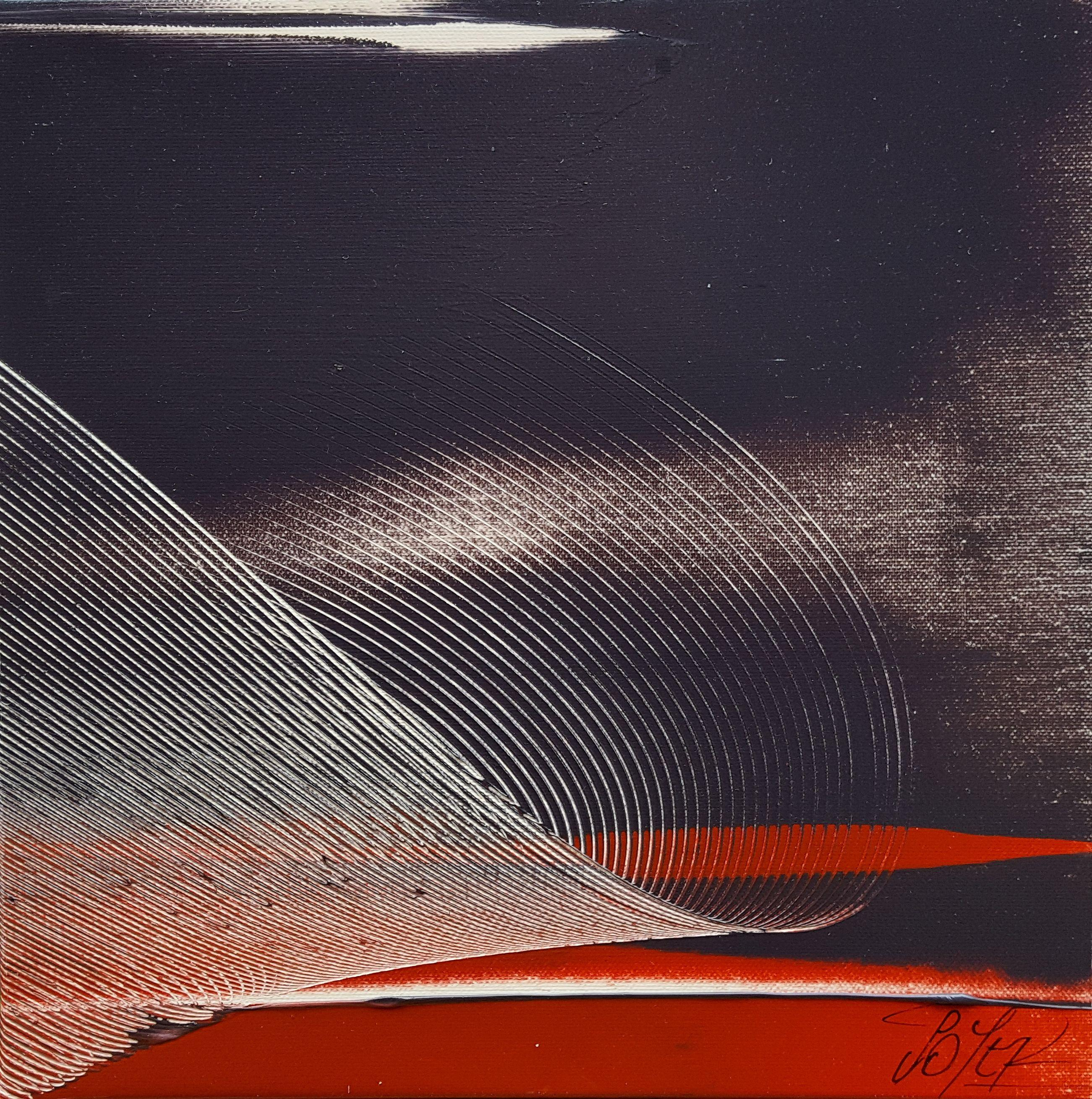 Small Red, Black and White Abstract Landscape Oil Painting