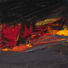 Small Red, Orange, Yellow, Grey and Black Abstract Landscape Oil Painting