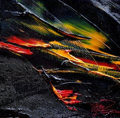 Small Volcano Colors Abstract Landscape Oil Painting