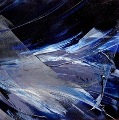 Stormy Lunar-Like or Snowy Grey Black and Blue Abstract Landscape Oil Painting