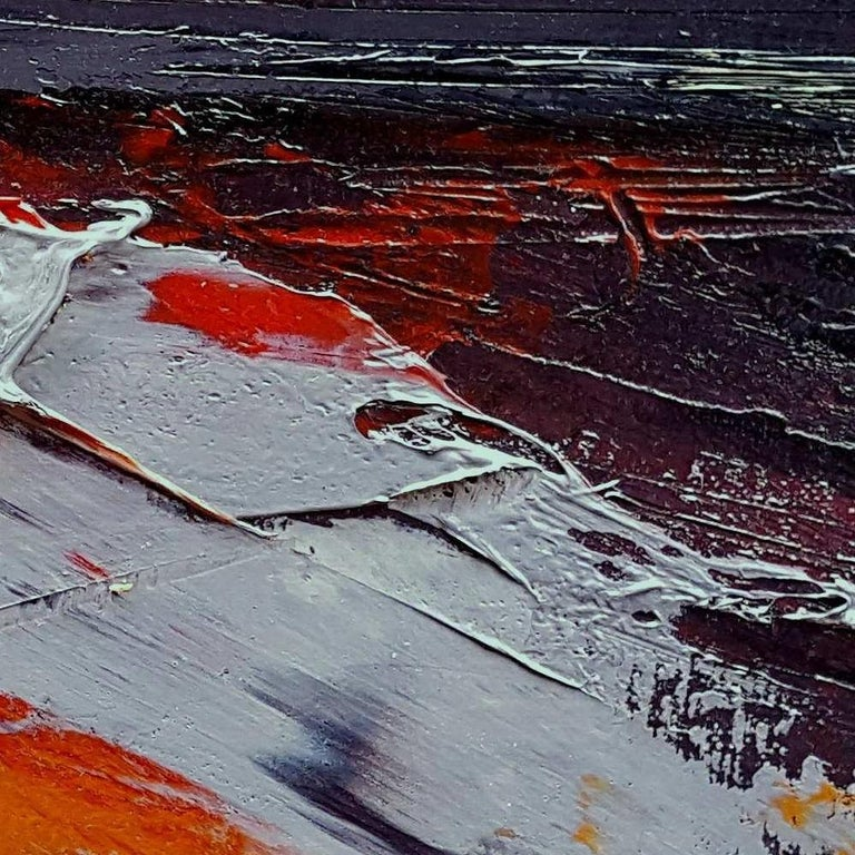 Small Vintage Industrial Colors Orange Grey Dark Abstract Landscape Oil Painting For Sale 7
