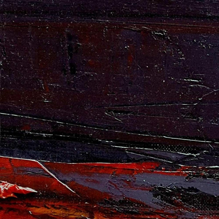 Small Vintage Industrial Colors Orange Grey Dark Abstract Landscape Oil Painting For Sale 9