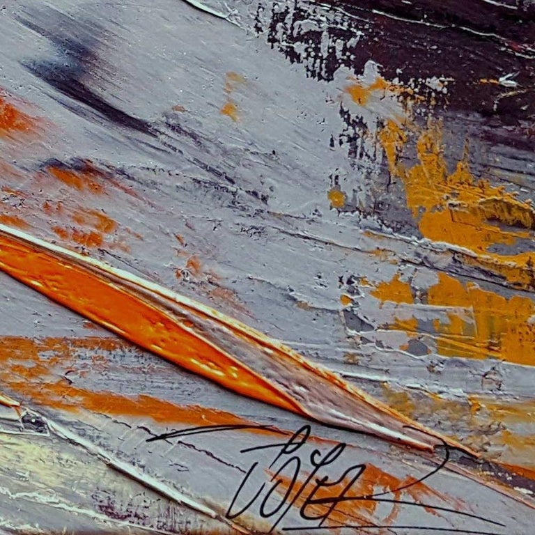 Small Vintage Industrial Colors Orange Grey Dark Abstract Landscape Oil Painting For Sale 10