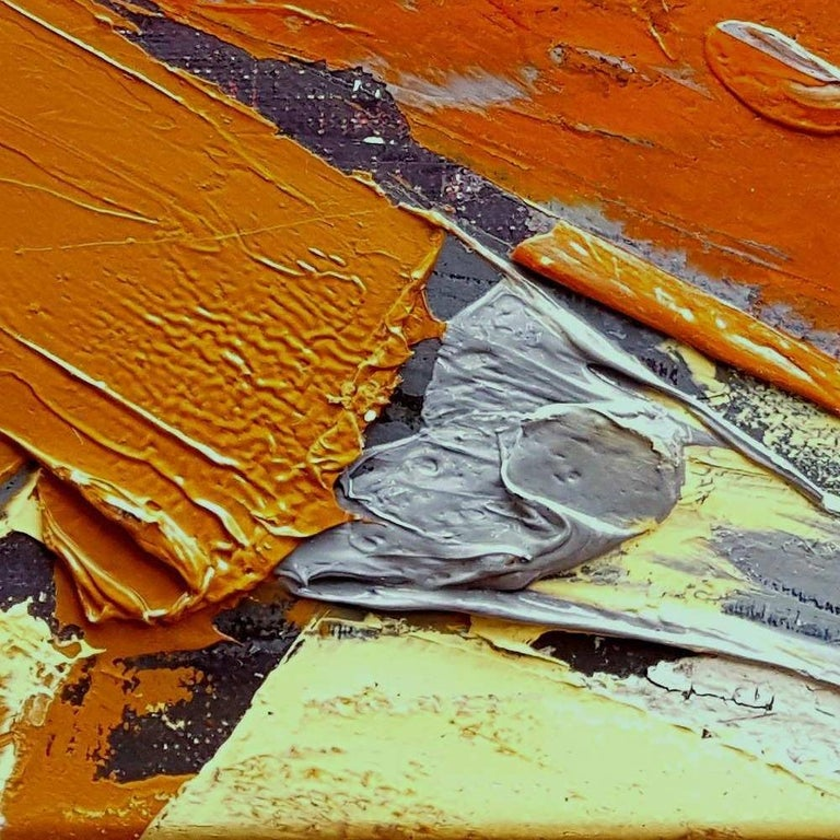 Small Vintage Industrial Colors Orange Grey Dark Abstract Landscape Oil Painting For Sale 11