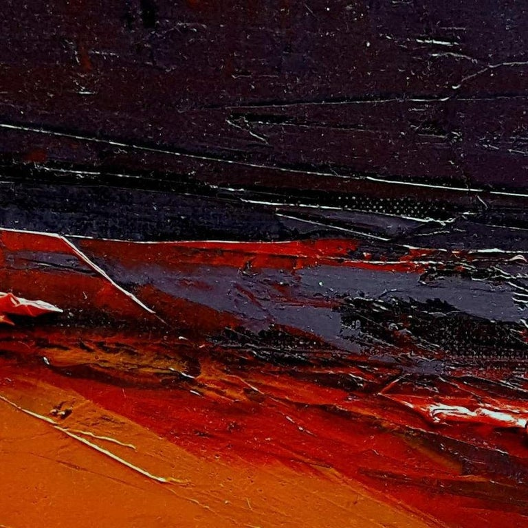 Small Vintage Industrial Colors Orange Grey Dark Abstract Landscape Oil Painting For Sale 1