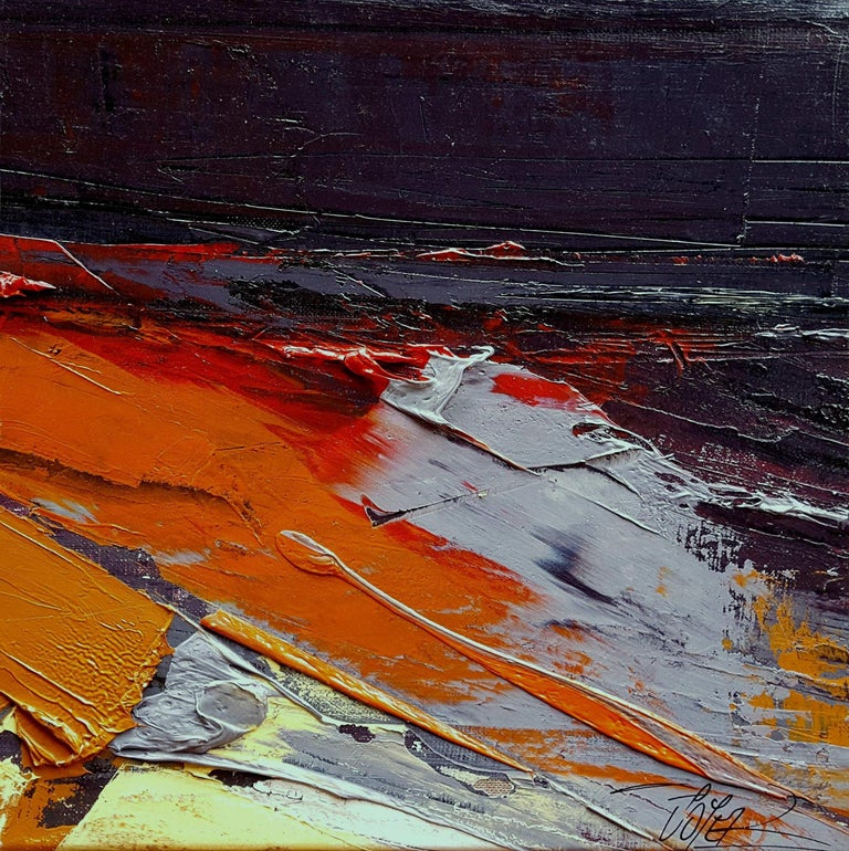Jean Soyer Abstract Painting - Small Vintage Industrial Colors Orange Grey Dark Abstract Landscape Oil Painting