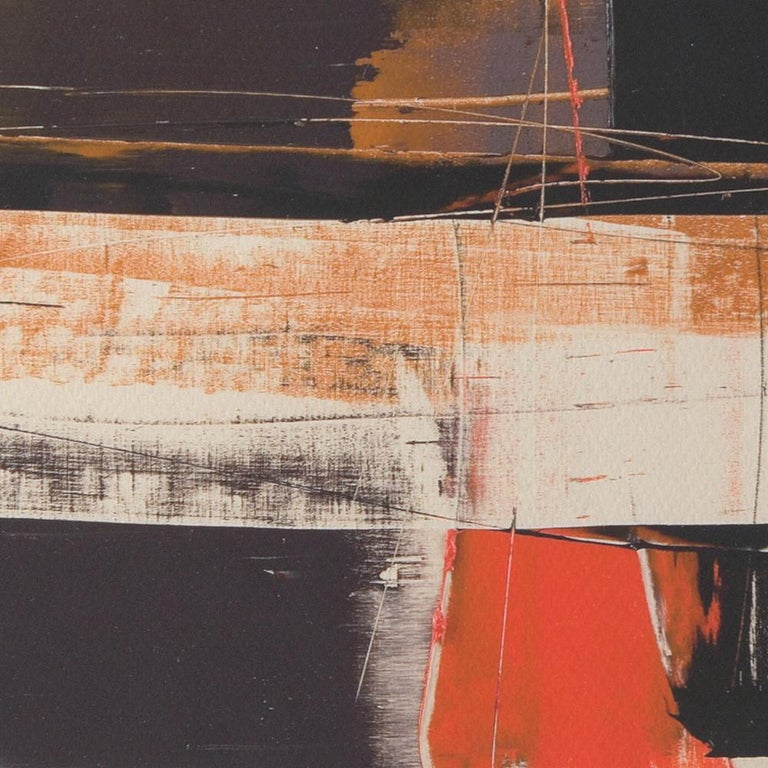 Black, Orange, White and Grey Composition Abstract Fine Art Giclee Print For Sale 3