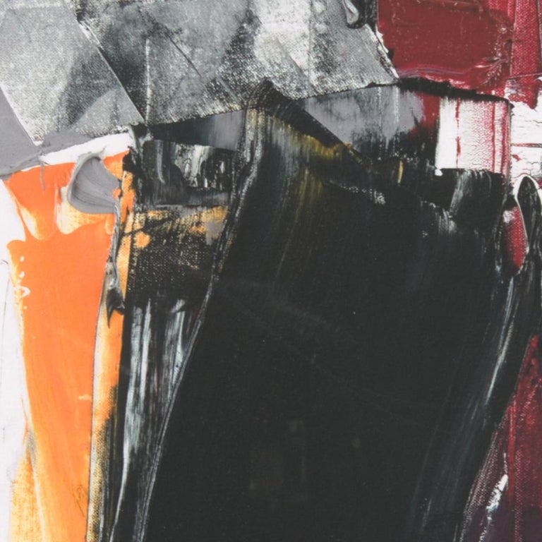 Black, White, Orange and Grey on Dark Red Abstract Fine Art Giclee Print For Sale 2