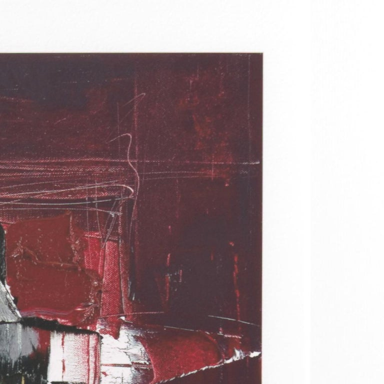 Black, White, Orange and Grey on Dark Red Abstract Fine Art Giclee Print For Sale 6