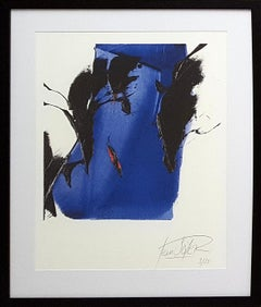 Dark and Blue with Red on White Background Abstract Fine Art Giclee Print
