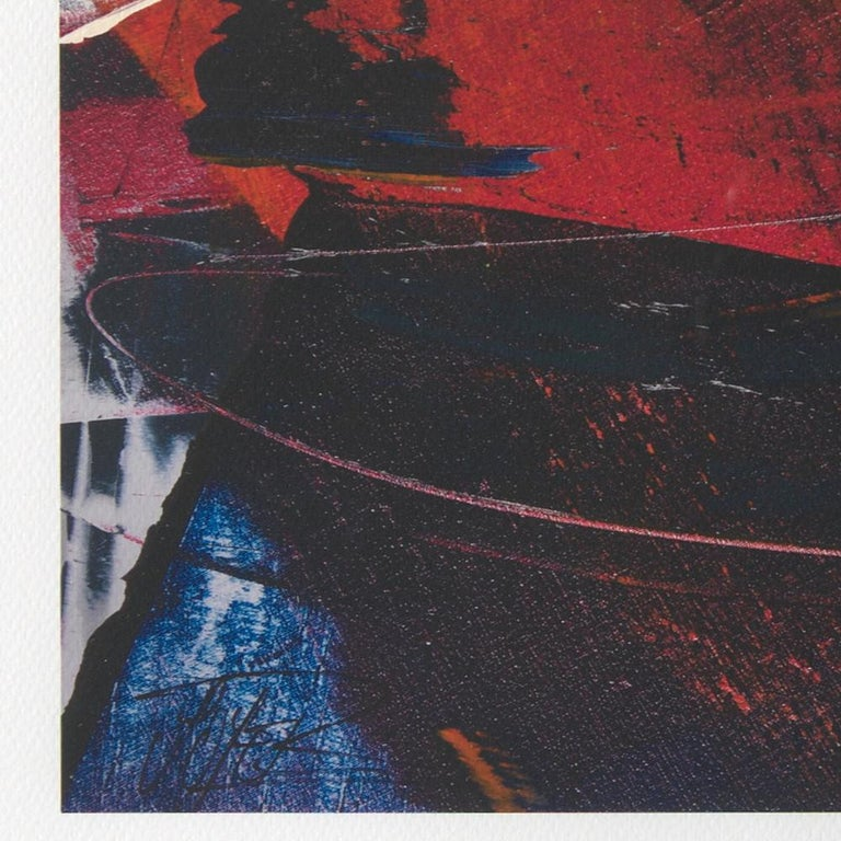 Red, Orange and Black and Blue Landscape Abstract Fine Art Giclee Print For Sale 1