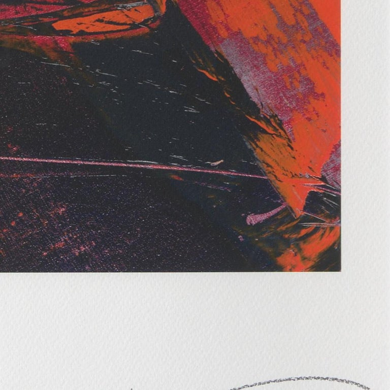 Red, Orange and Black and Blue Landscape Abstract Fine Art Giclee Print For Sale 3