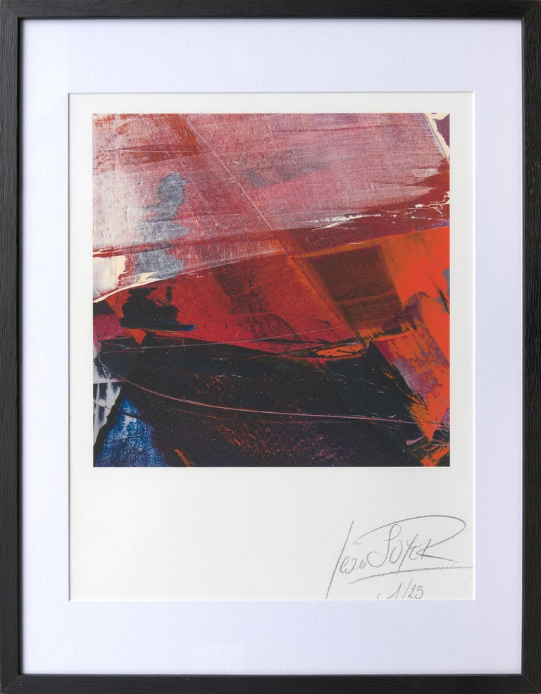 Jean Soyer Abstract Print - Red, Orange and Black and Blue Landscape Abstract Fine Art Giclee Print