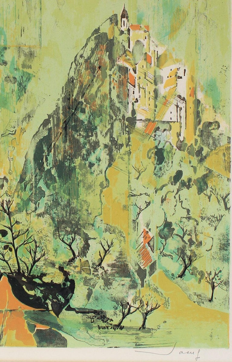 Cityscape, Serigraph Print, Mid Late 20th Century - Beige Landscape Print by Jean-Theobald Jacus