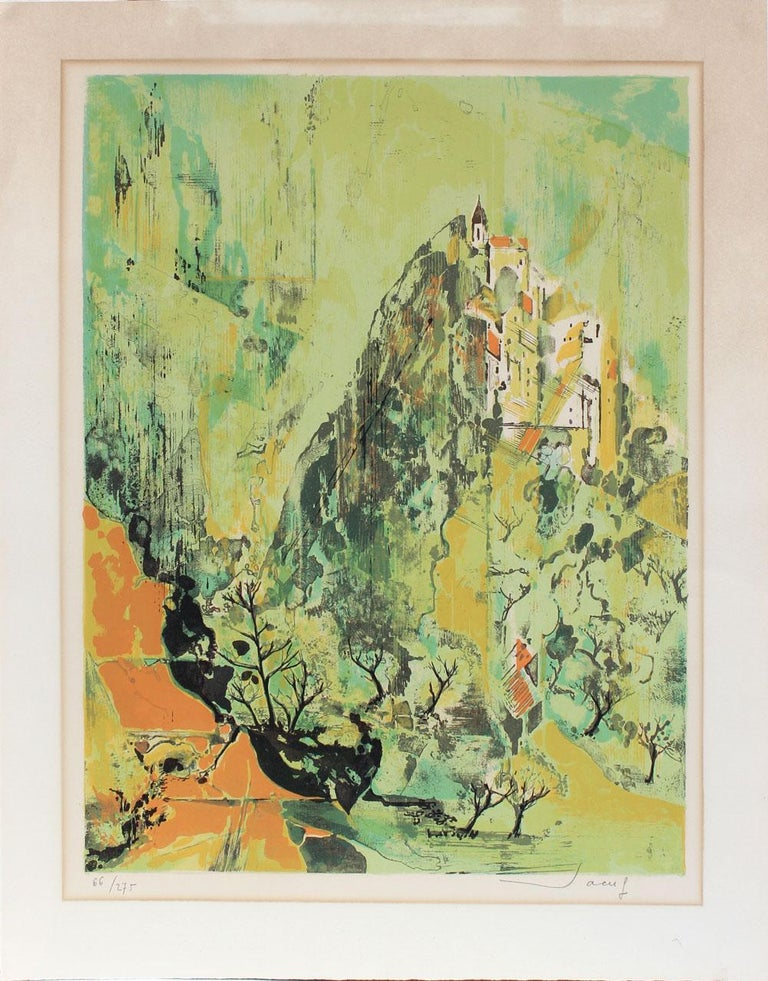 Jean-Theobald Jacus Landscape Print - Cityscape, Serigraph Print, Mid Late 20th Century