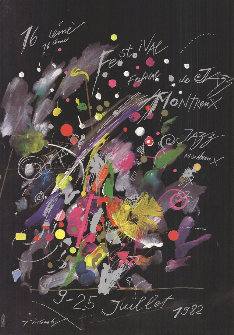 1982 Jean Tinguely 'Montreux Jazz Festival' Advertising Multicolor,Black & White - Print by Jean Tinguely