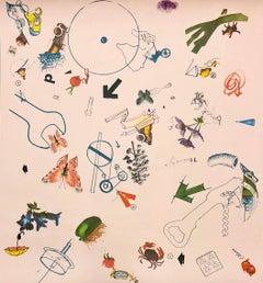 Screenprint Offset Lithograph Vintage Wallpaper Segment 1970s Surrealist Pink