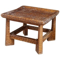 Jean Touret Low Carved Wooden Coffee Table from 1950s