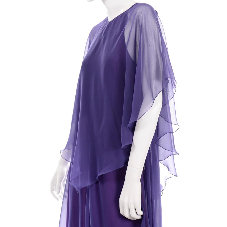 Jean Varon 1970s Vintage Blue Chiffon Evening Dress With Sheer Overlay For Sale 8