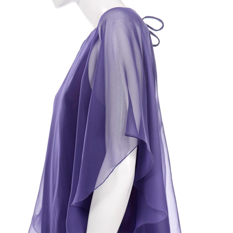 Jean Varon 1970s Vintage Blue Chiffon Evening Dress With Sheer Overlay For Sale 9
