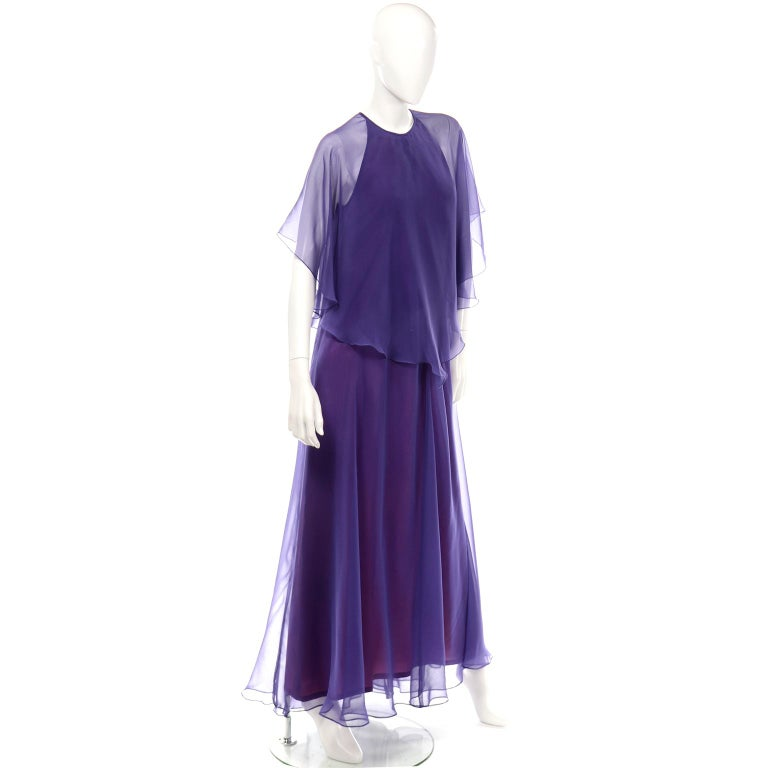 Jean Varon 1970s Vintage Blue Chiffon Evening Dress With Sheer Overlay In Excellent Condition For Sale In Portland, OR